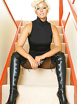 Jo Guest in black pantyhose and thigh high boots