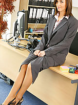 Secretary Pussy: Melanies perfect figure is flattered by the sexy lingerie under her suit skirt and blouse