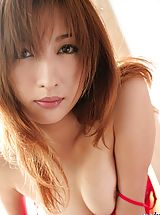 Pussy, Asian babe in red lingerie slowly strips