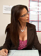 Secretary Pussy: Horny teacher takes her students cock in her ass