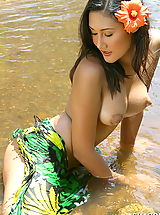 Seductive Babes, Asian Women sharon 03 puffy nipples river water