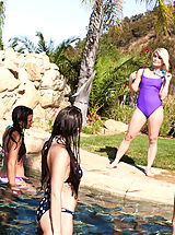 Bikini Babes: Ash Hollywood finished her swim when she decides a hot fuck in the sun would be fun