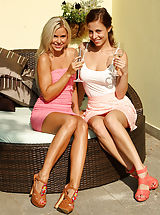 Lesbian Babes Play with Wine Bottle and Double Dildo Outside