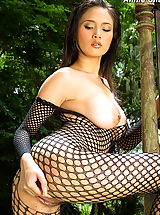 Asian Babe, Asian Women annie chui 09 forest bodystocking hanging