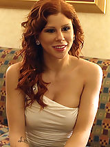 Gorgeous redhead meets her client and has to be a slave for big cocked horny client.