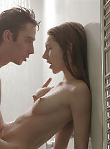 Hard Nipple Babes: Hot sex in the shower. View him slide his huge cock inside her own tight vagina once the water rains down.