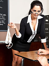 Secretary Pussy: Ava Addams shows one of her students what it takes to get an A in her class.