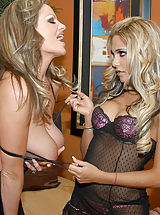 Kelly Madison and Carmel Moore take turns riding a big dick and licking pussy juice off it.