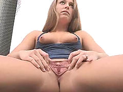Shaved Pussy Pics, Kiera spreads pussy at the fire station