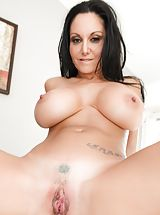 Hot Babe, Bill Bailey, Ava Addams Sinful Slut exposes her bare tits, draws down her under garments and spreads her limbs and diddles her tight-fitting pussy
