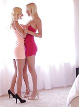 Blondes Sierra Nevadah and Jessie Volt rip each others clothes off and hit the bed for a wet and wild pussy licking 69