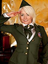 Hot Babes, Anilos Amber Jewell wears military uniform to tease