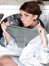 Panties Pussy: Horny housewife slips off her husbands work shirt in the laundry room
