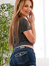 Jeans Pussy: Young teen girl loves to swallow and get pumped by big cock.