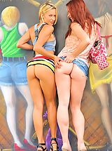 Naked Babes, Lena and Melody Public Fun