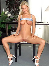 Babes Pics: nicky 01 cucumber fucking secretary shaved cunt