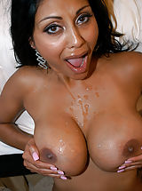 Hot Babes, Priya Rai is an exotic big cock loving slut that can't get enough cum unloaded on her huge tits!